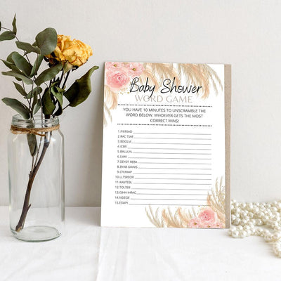 Boho Theme - Word Game | Baby Shower Game Your Party Games