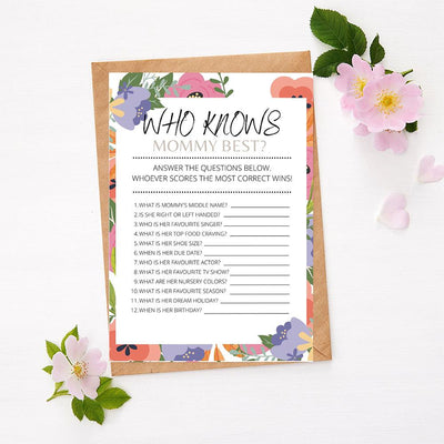 Spring Flowers - Who Knows Mommy | Baby Shower Game Your Party Games