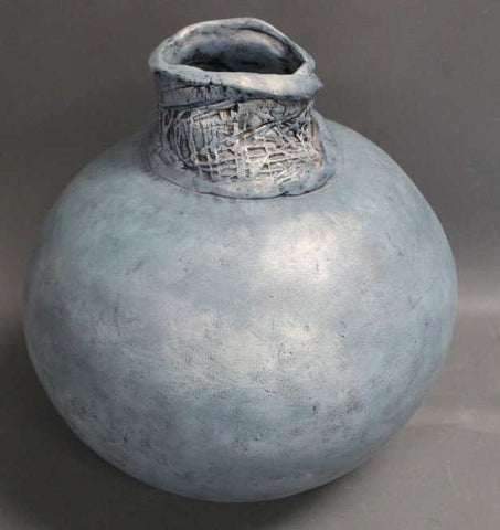 Iridescent signed Blue Art Pottery Vessel - The Sweetwood Collection