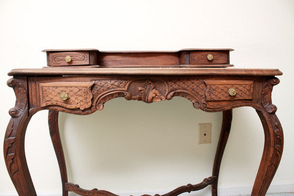 French carved console table w/Marble inset top