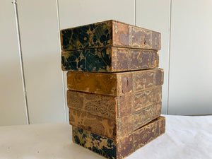 Set of 6 Antique faux marbled book boxes - The Sweetwood Collection