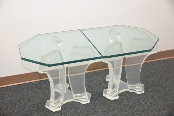 Pair of Jeffery Bigalow Lucite base and glass top tables - The Sweetwood Collection