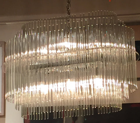 Mid Century Glass Rod Chandelier