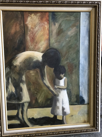 Framed oil study of Cynthia packard