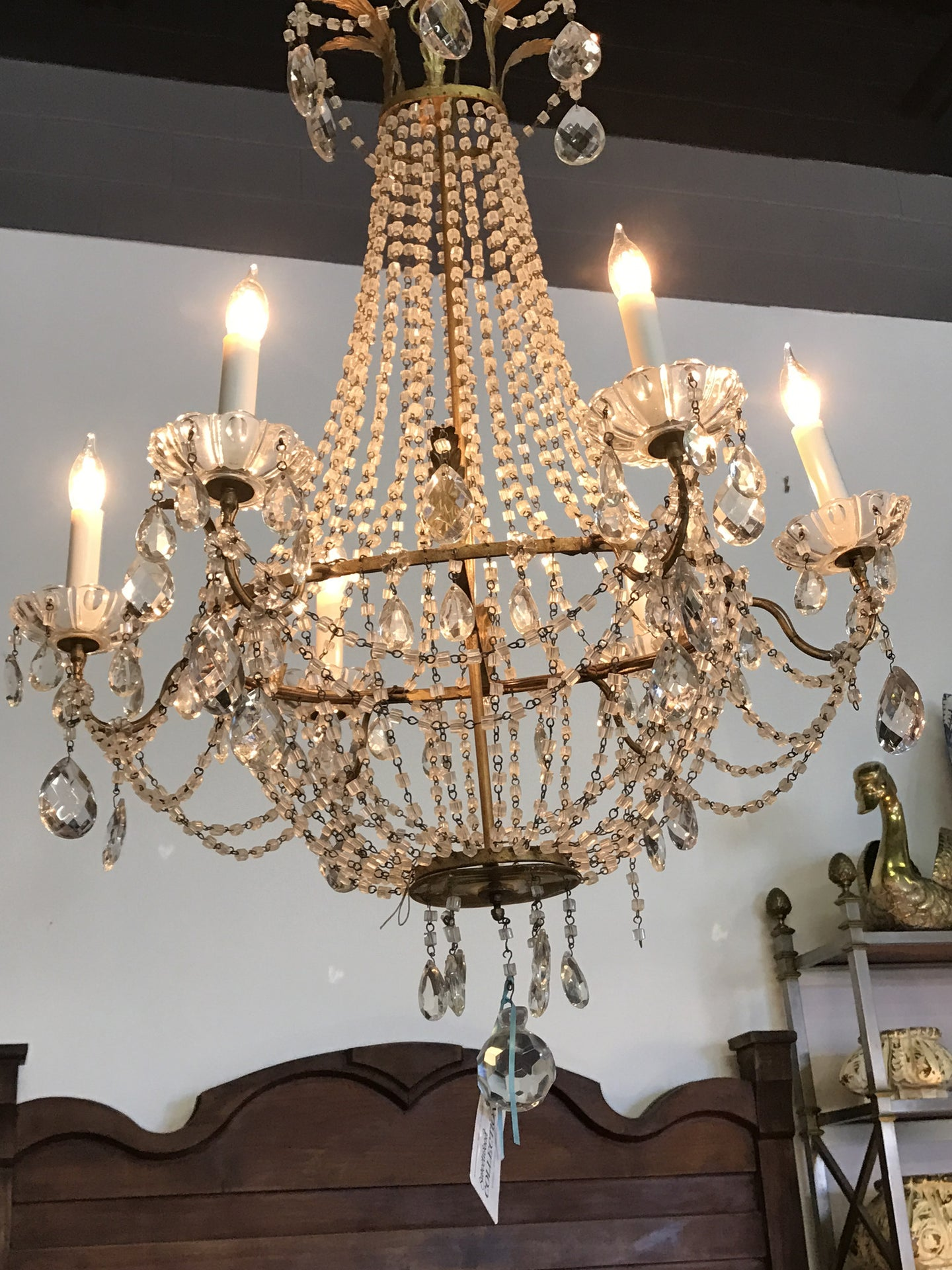 Antique French 6 Arm Chandelier with Macaroni crystal beading - The Sweetwood Collection