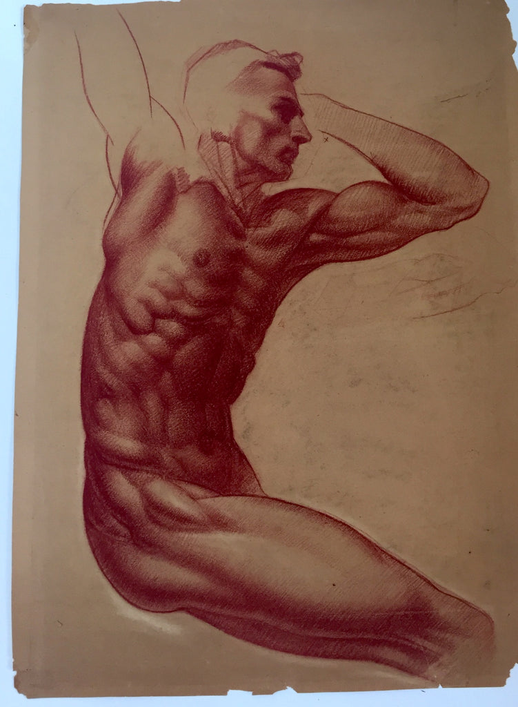 William Richardson Miller Nude Sketch, 1937 Male Nude Sepia, over head stretch.