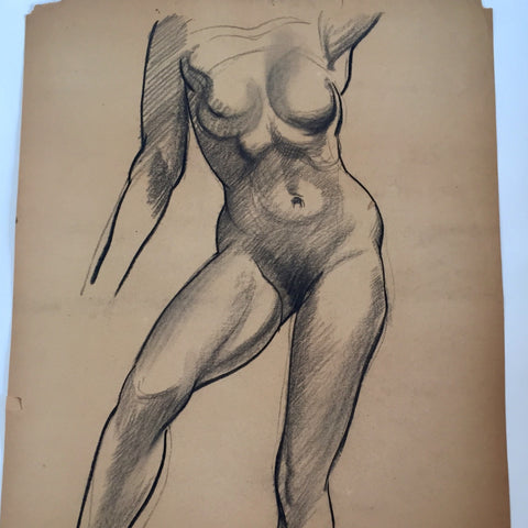 William Richardson Miller Nude Sketch, 1937 Female figure standing. - The Sweetwood Collection