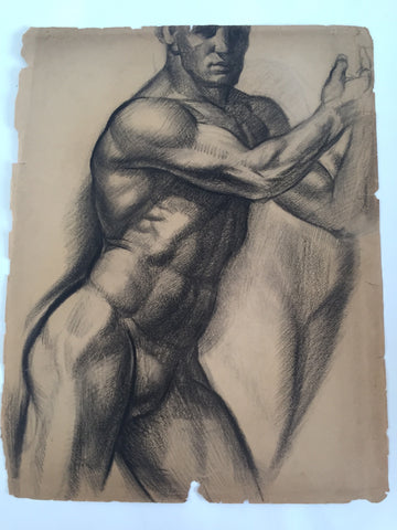 William Richardson Miller Nude Sketch, 1937 Leaning Male Nude. - The Sweetwood Collection
