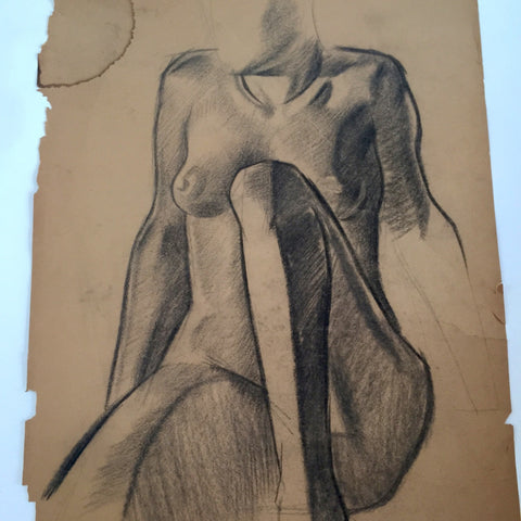 William Richardson Miller Nude Sketch, 1937 Female figure sitting. - The Sweetwood Collection