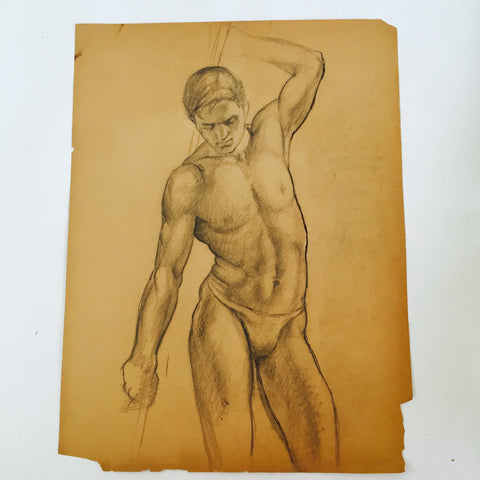 William Richardson Miller Nude Sketch, 1937 stretching man. - The Sweetwood Collection