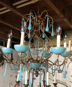 Opaline Chandelier French Antique