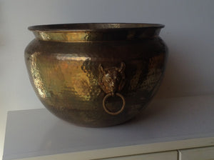 Large Hammered Brass Mid Century urn with Fox pull handles - The Sweetwood Collection