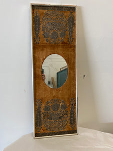 Antique Mirror on Vintage Framed Embroidered Linen