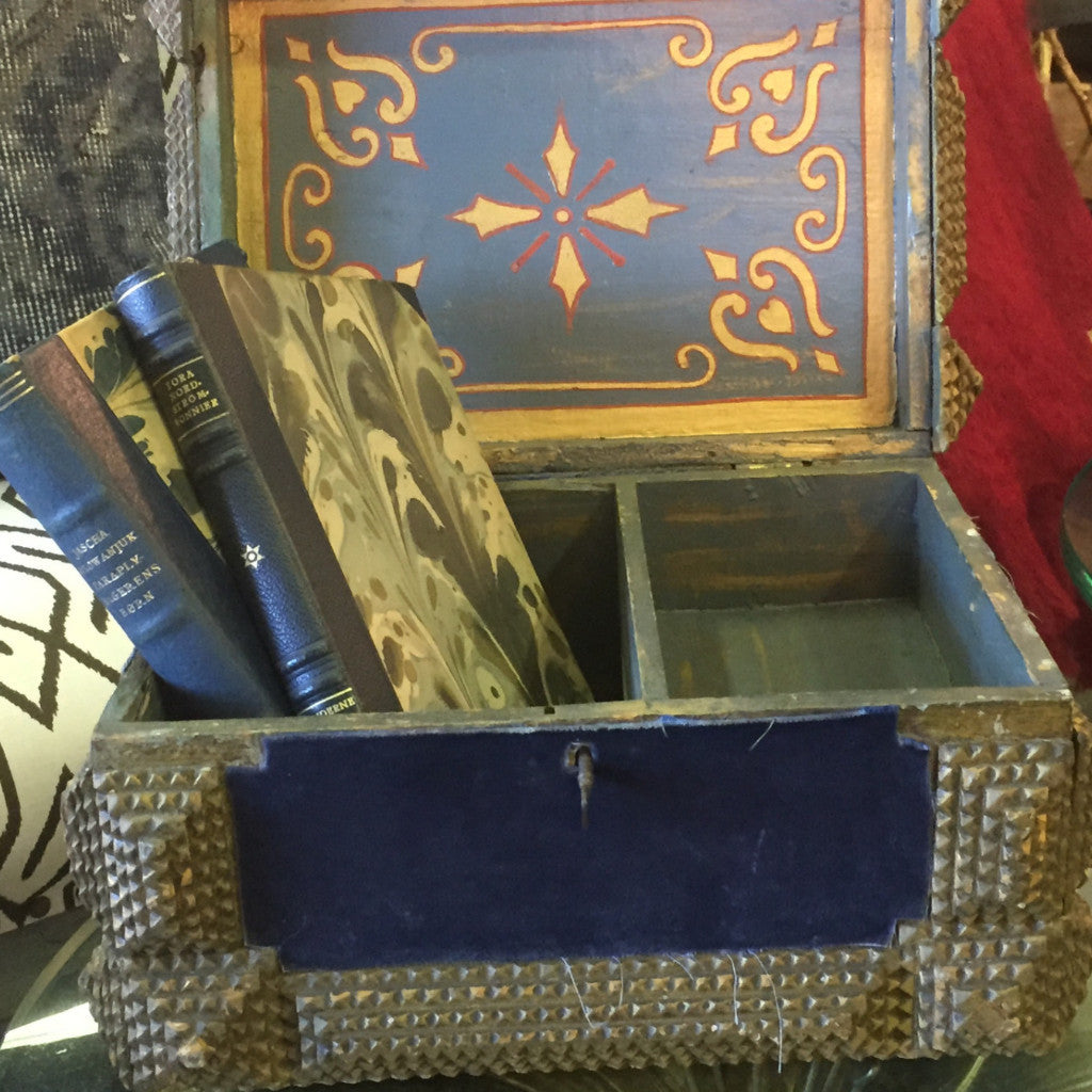 Velvet Blue Vintage Tramp Art Box - The Sweetwood Collection