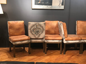 Set of 6 vintage brass base chairs upholstered in 2 fabrics. - The Sweetwood Collection