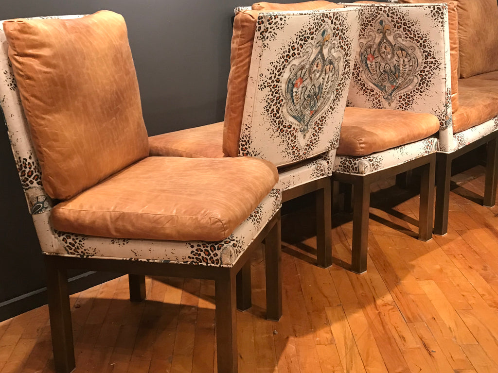 Set of 6 vintage brass base chairs upholstered in 2 fabrics.