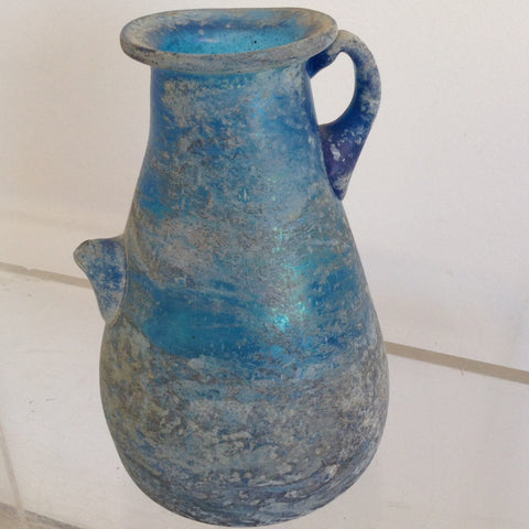 Antique Blue Sand Blasted Murano Glass Vessel