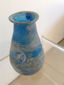 Antique Blue Sand Blasted Murano Glass Vessel - The Sweetwood Collection