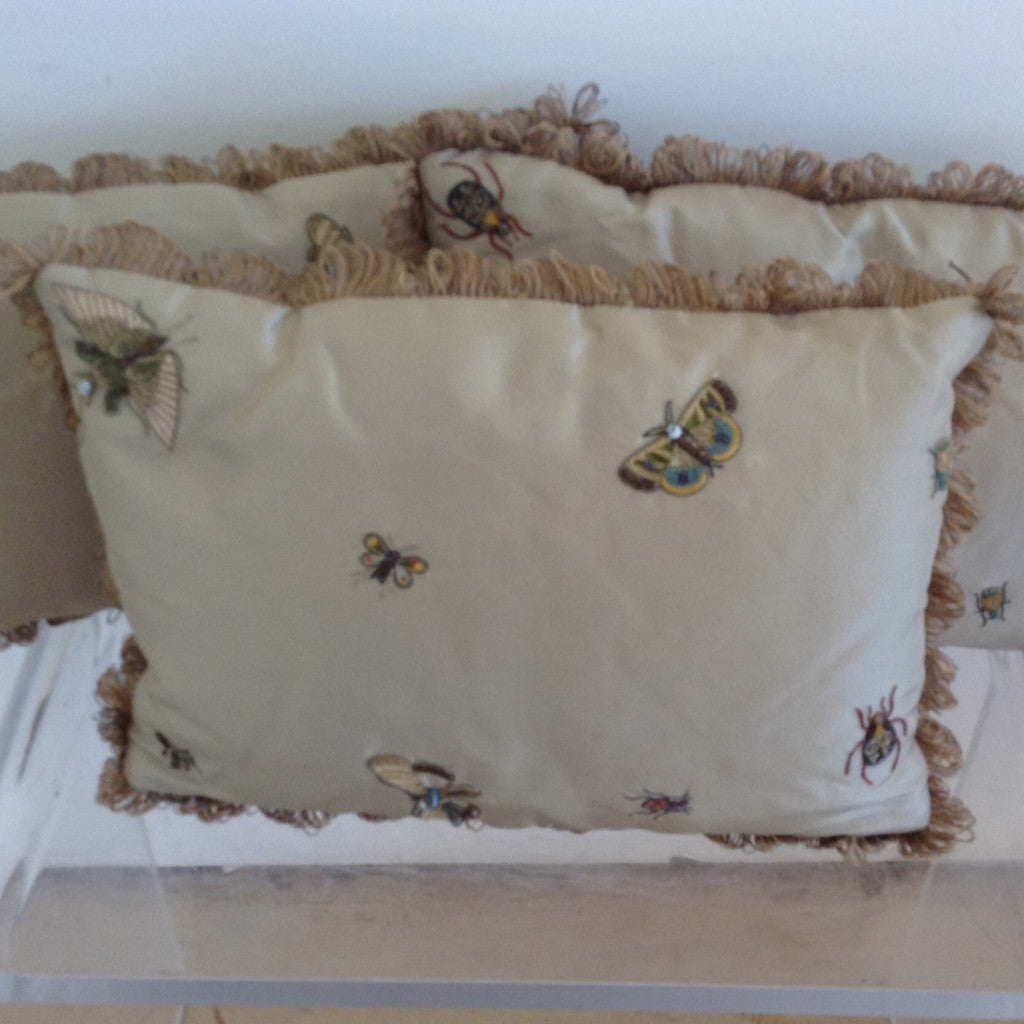Set of 3 Silk Velvet Celery and Beige hand embroidered Bug pillows