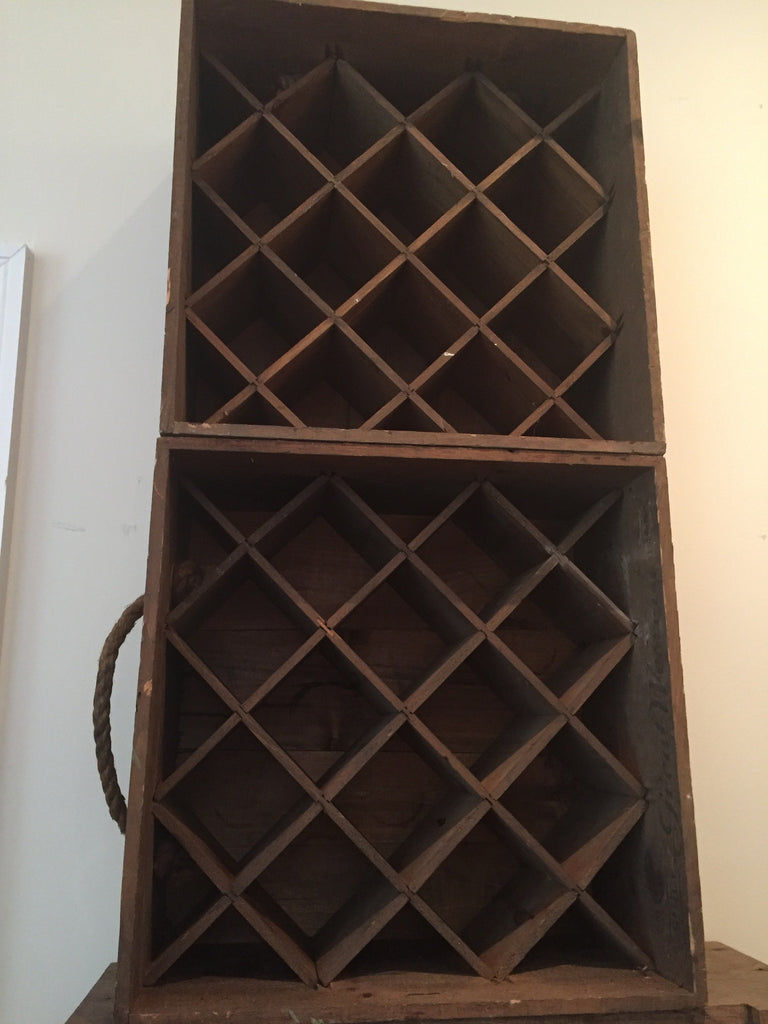 Pair of vintage Great western wine boxes turned wine holders. - The Sweetwood Collection