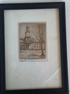"Etching by Don Swann ""Gilman Hall"" - The Sweetwood Collection"
