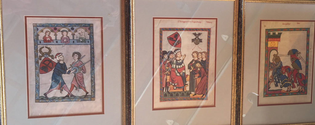 Set of Three framed Theological illuminated pages - The Sweetwood Collection