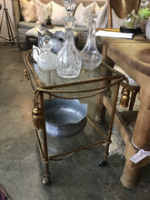Vintage Italian Gold Rope Gilded two tier bar cart - The Sweetwood Collection