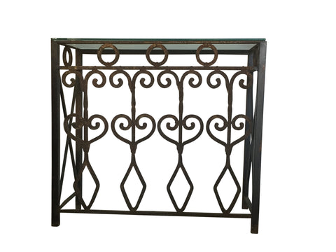 Hand Forged vintage iron console with glass top. - The Sweetwood Collection