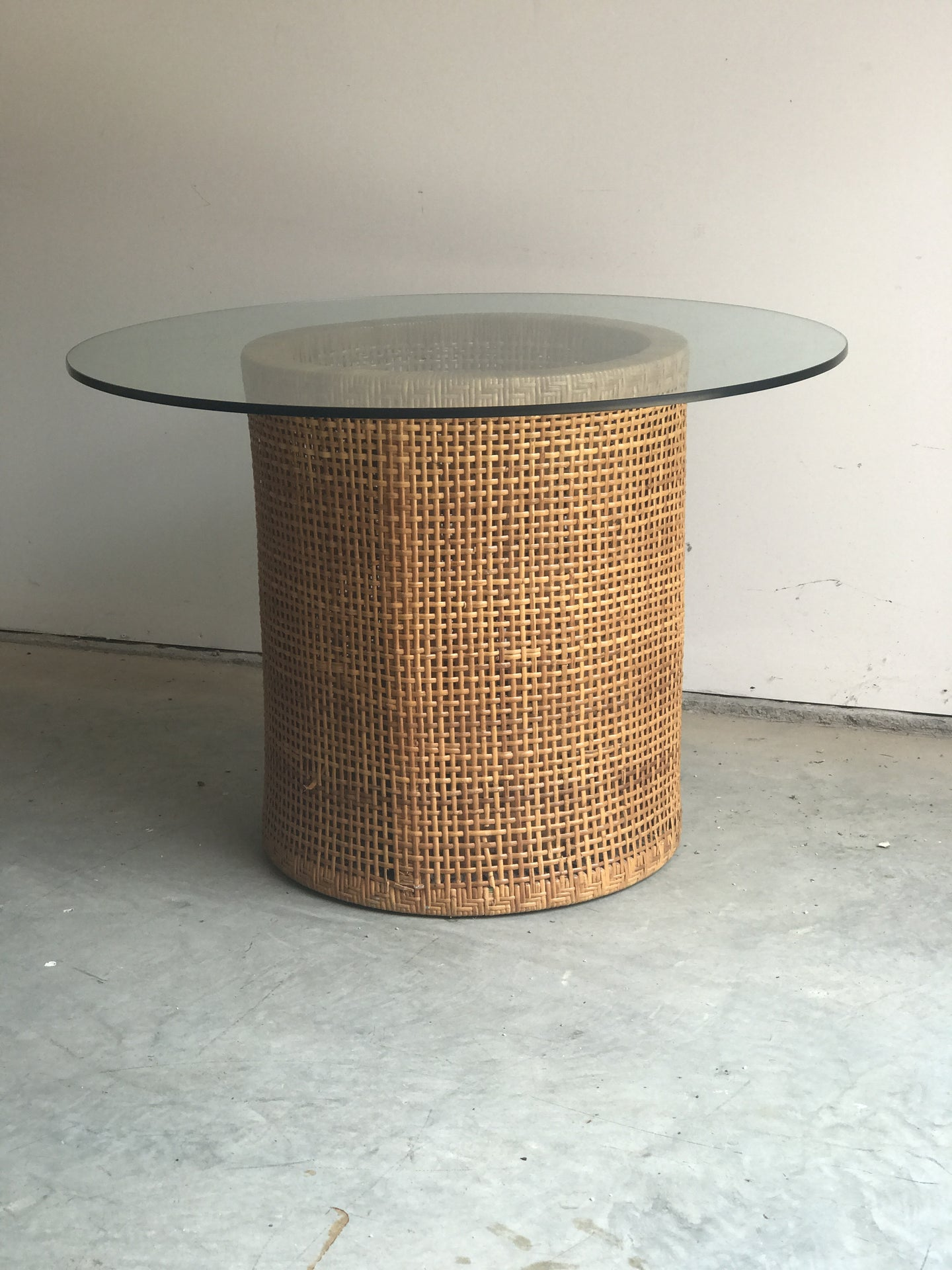 Vintage Double Woven Barell table base with glass top. - The Sweetwood Collection