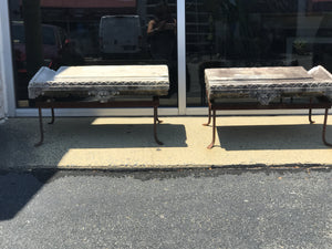 Pair of Early stone pediment garden benches. - The Sweetwood Collection
