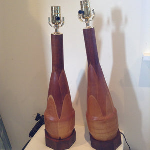 Pair of Mid Century Modern Teak table lamps. - The Sweetwood Collection