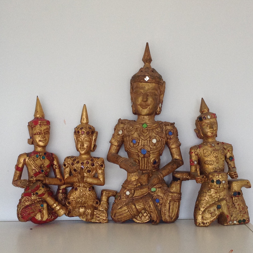 Set of 5 Vintage Indian Praying wall gold statues.