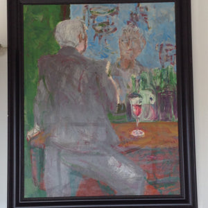 "Impressionist figural oil on canvas, ""Homme Oui Bar"" - The Sweetwood Collection"