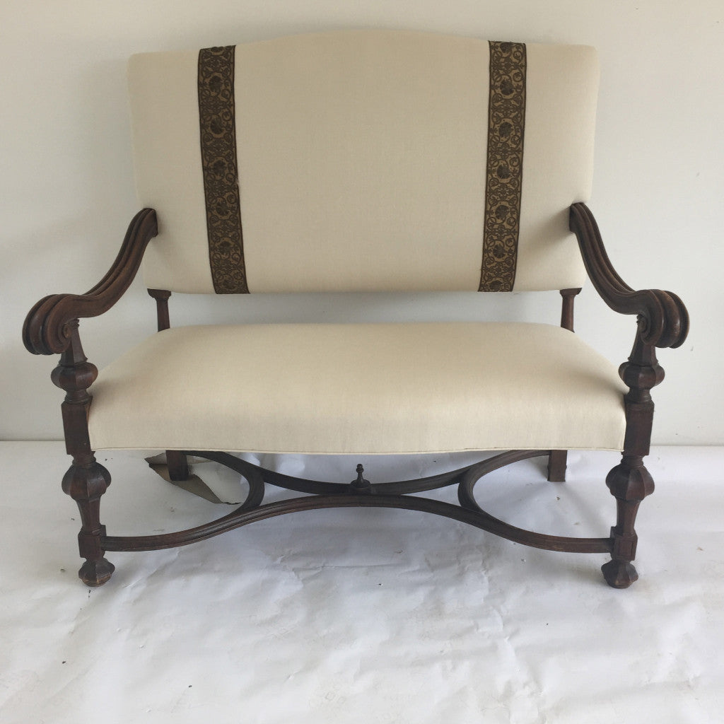 Large Antique Settee with Antique tapestry detail - The Sweetwood Collection