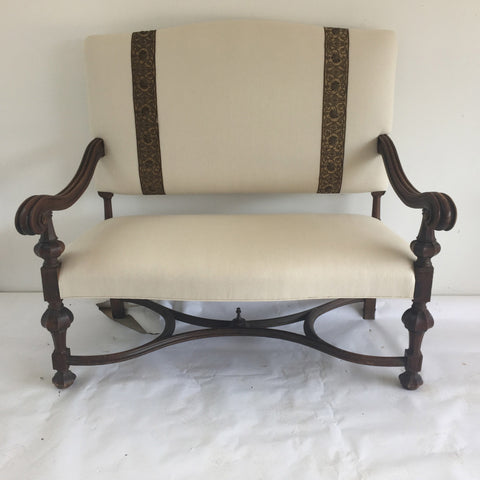 Large Antique Settee with Antique tapestry detail