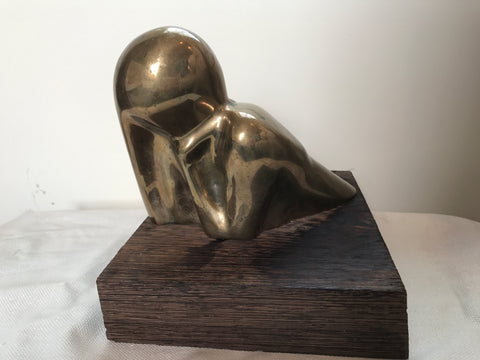 Mid Century Brass figure sculpture on a wood base - The Sweetwood Collection