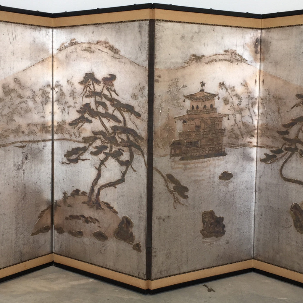Vintage Japanese 4 Panel Byobu folding Screen Painting.
