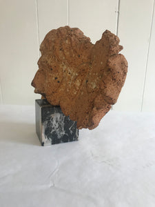 Antique Fragment terra cotta stone on marble base - The Sweetwood Collection