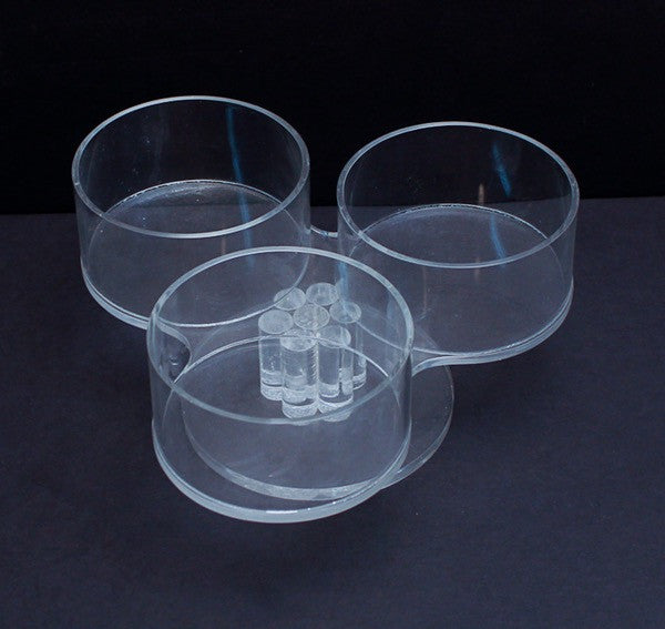 Lucite serving _ three dish pedestal