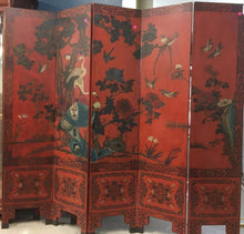 Vintage 6 panel Chinese Hand painted Lacquer Screen - The Sweetwood Collection