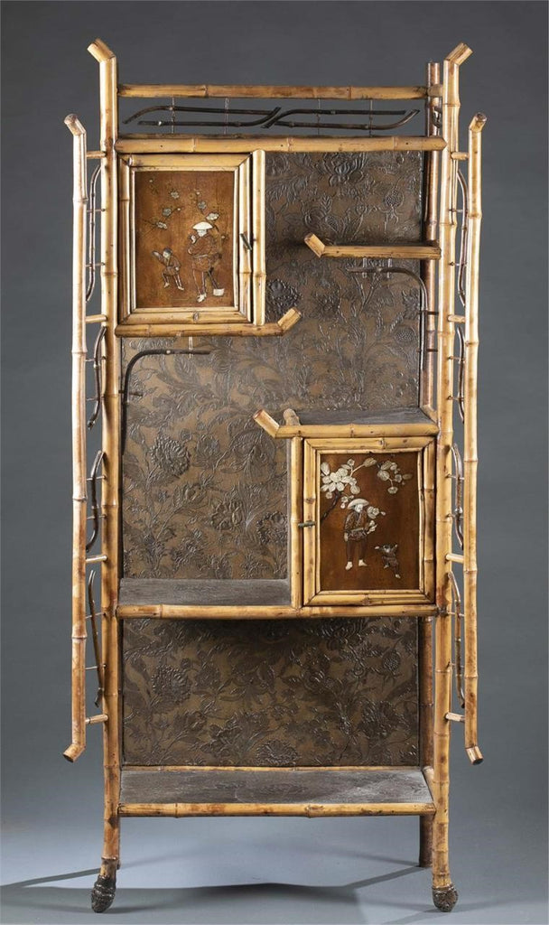 19th Century Aesthetic Chinoiserie Bamboo Display Cabinet