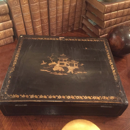 Antique 19c. Chinese lacquer  lap desk box with gilt inlay - The Sweetwood Collection
