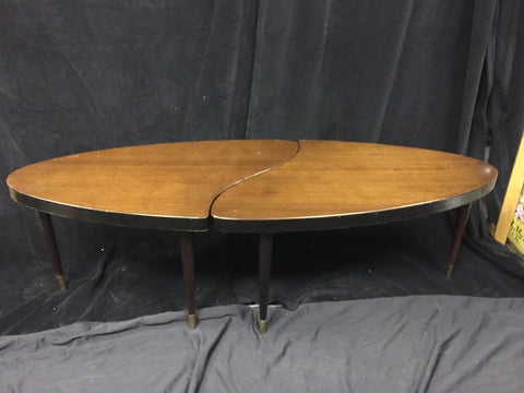 Mid Century Oval Jig saw puzzle coffee table - The Sweetwood Collection