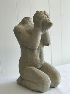 Vintage knealing carved stone statue - The Sweetwood Collection