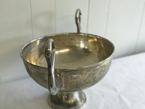 Silver plated swan neck bowl and pedestal - The Sweetwood Collection