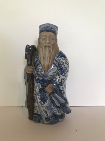 Blue and White Decorative Asian man statue
