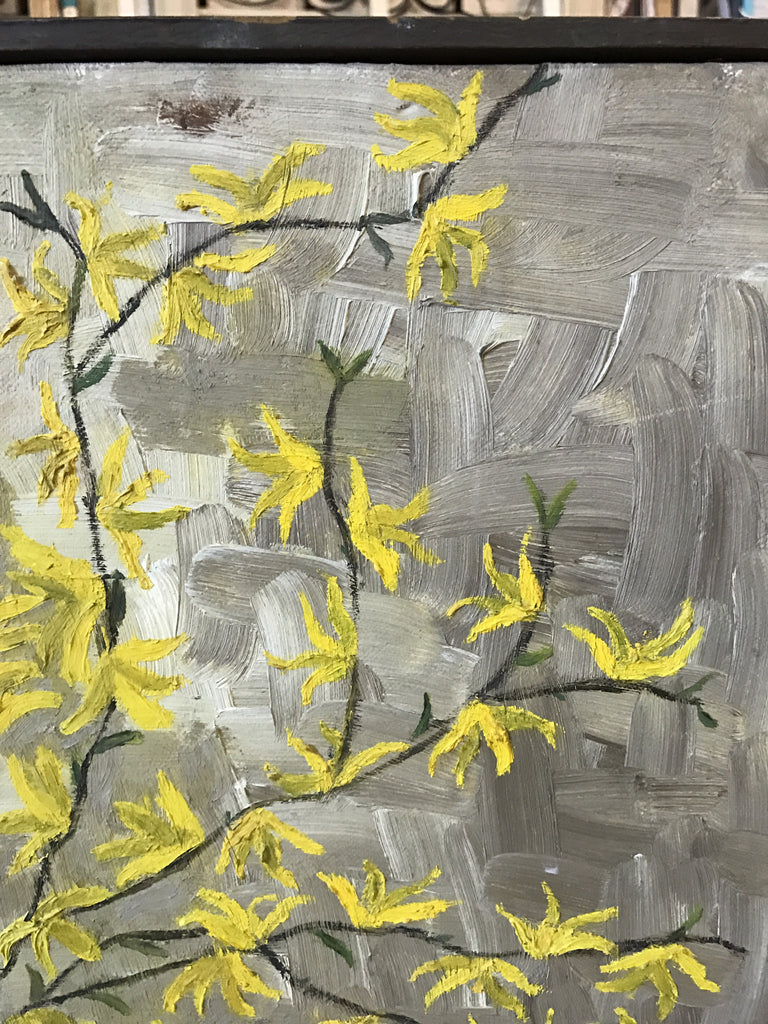 Forsythia branches acrylic on canvas signed,