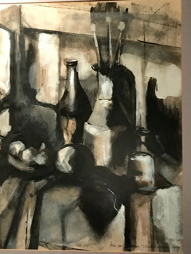 Mid Century Still Life of vases & paint brushes