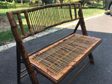 Vintage folding Tortoise Bamboo settee - The Sweetwood Collection