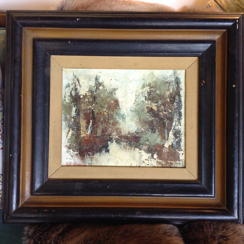Framed Abstract oil on canvas, signed Baron - The Sweetwood Collection